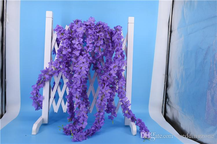 High Quality Artificial Orchid Wisteria Vine Flower 79 Inch[2M] Silk Orchid Wreaths For Wedding site layout