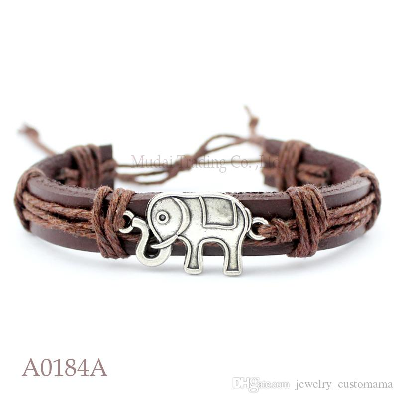 ANTIQUE SILVER FOX CHARM Adjustable Leather Cuff Bracelets for Men & Women Friendship Bangle Punk Casual Jewelry