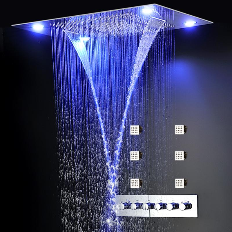 2020 Modern Bathroom Recessed Ceiling Rain Shower Head 600*800 electric power led rain shower spray with rainfall,waterfall,misty