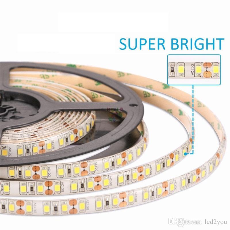 높은 광도 5M 600led SMD 2835 LED 스트립 비 방수 DC 12V 다이오드 테이프 120led / m 슈퍼 밝게 3528 유연한 빛보다