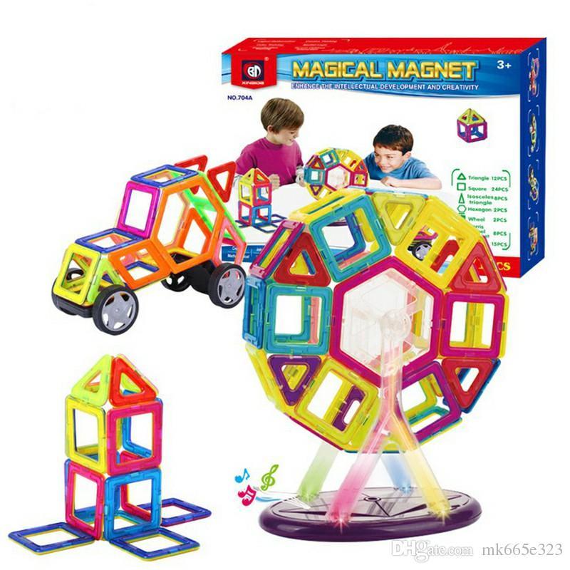 Set Magnetic Building Blocks Kids Magnet Construction Toy Rainbow