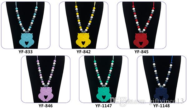 Silicone Teething Necklace Owl Pendant Teether Necklace BPA Free Safe Silicone Baby Chew Beads Nursing Necklace Mommy DIY Jewelry
