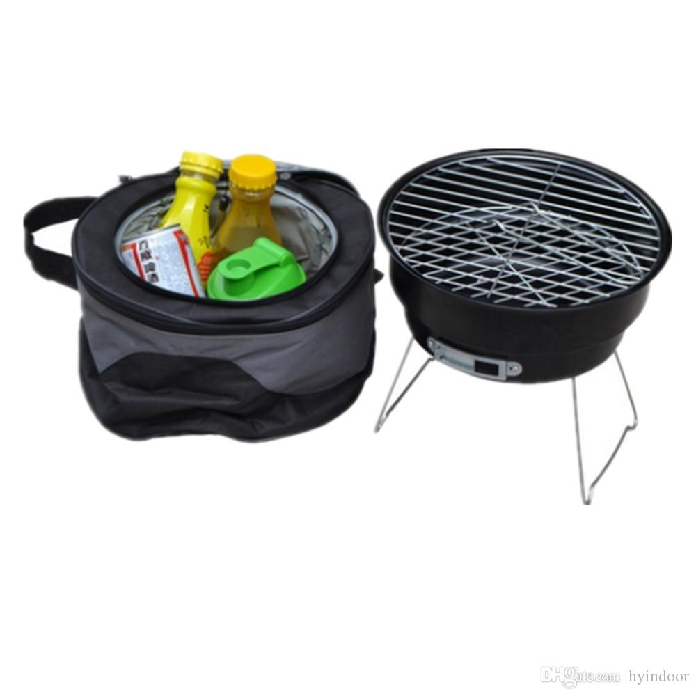 Round Portable Barbecue Roasting Tools Outdoor Camping Picnic Charcoal Bbq Grills Commercial Small Stainless Steel