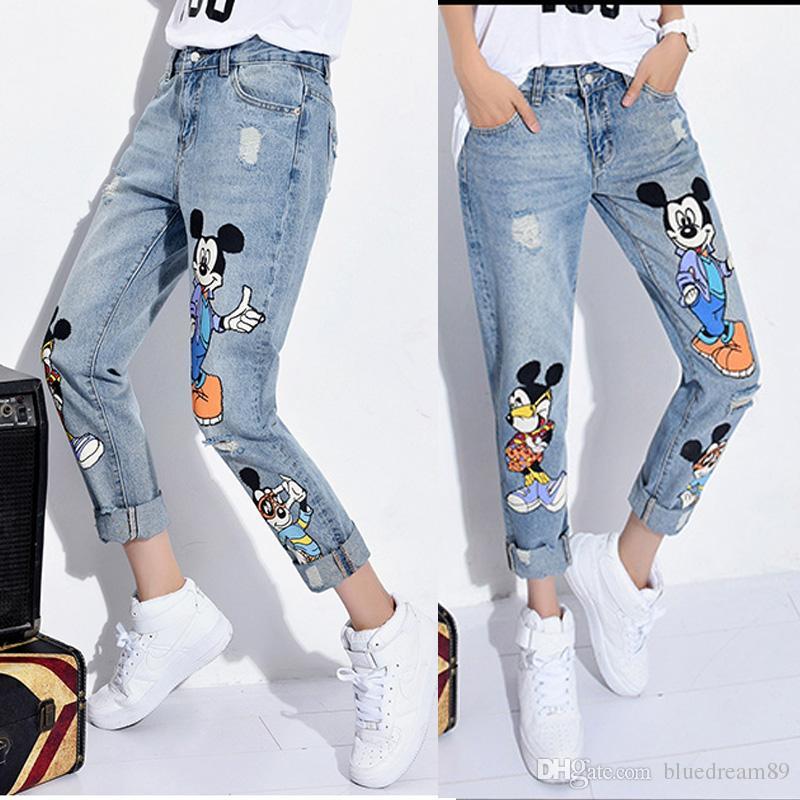 a5e0c67b1d Impressão solta boyfriend jeans buracos das mulheres rasgado em linha reta  plus size jeans para mulheres meninas dos desenhos animados destruído jeans  ...