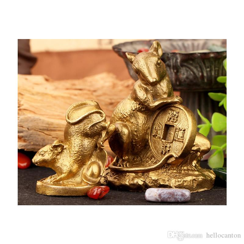 Lucky Feng Shui Rat Chinese Zodiac Animali Statuette Figurine Fengshui Rat Ox Tiger Coniglio Dragon Snake Horse Goat Monkey Rooster Dog Pig