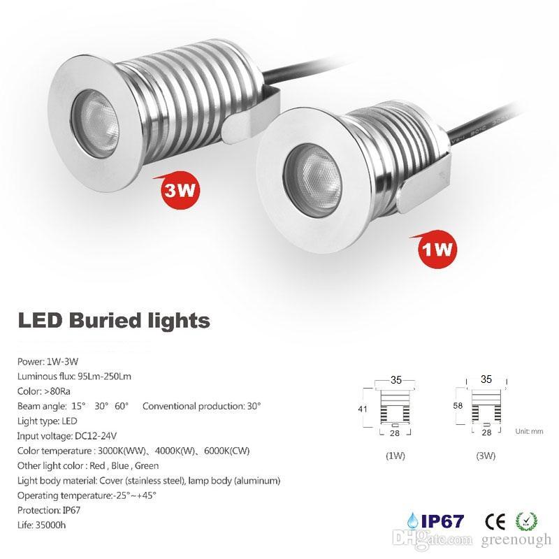 12V 24V 1W LED subterrânea Paisagem Iluminação IP67 LED recesso piso deck luz ao ar livre Jardim Lamp Branco Vermelho Verde Azul