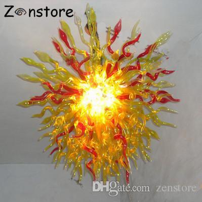 Современный большой золотой цветок лампы муранского стекла шары 32inches диаметр 100% ручной выдувного стекла люстра светодиодные люстры освещение