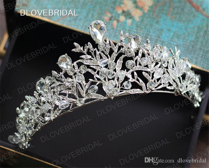 Stunning Gold Silver Bridal Crown High Quality Colorful Clear Crystal Wedding Prom Party Tiara Hair Accessories Real Photos