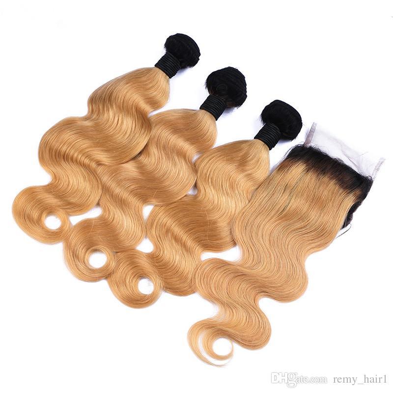 # 1B / 27 Bal Sarışın Brezilyalı İnsan Saç Kapatma Ile 3 Demetleri Koyu Kökleri Açık Kahverengi Vücut Dalga 4x4 İnsan Saç Atkı Ile Dantel Kapatma
