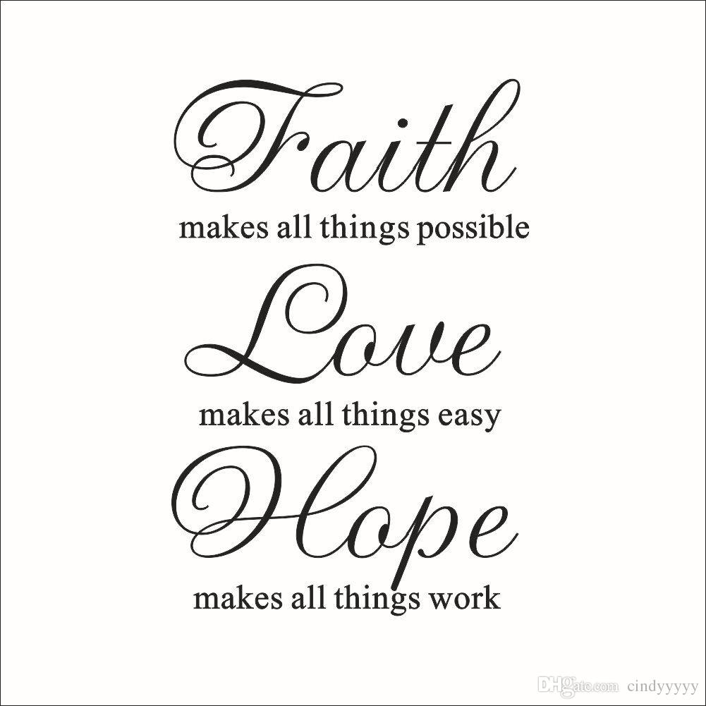 Love And Faith Quotes Faith Love Hope Wall Stickers Saying Quotes Characters Letters