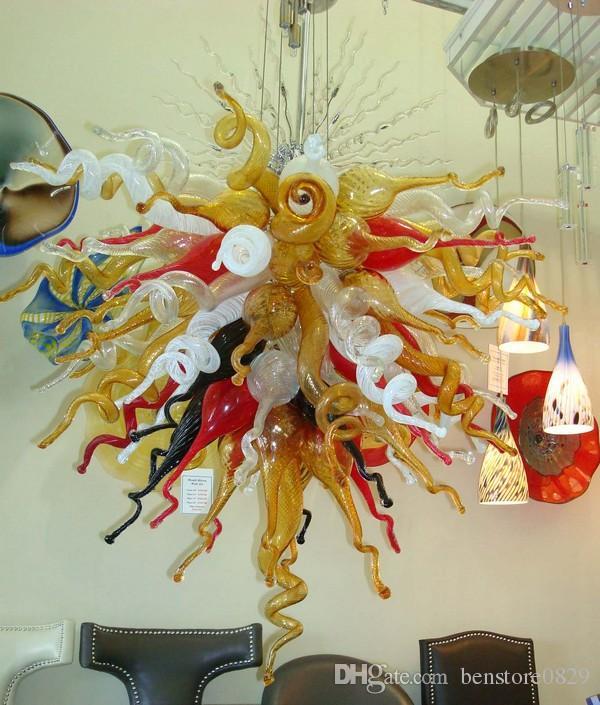 Bombillas LED Soplado lámpara de cristal de luz 30 Mejores Ventas Foyer Sala de estar la decoración del arte 100% soplado estilo de la lámpara