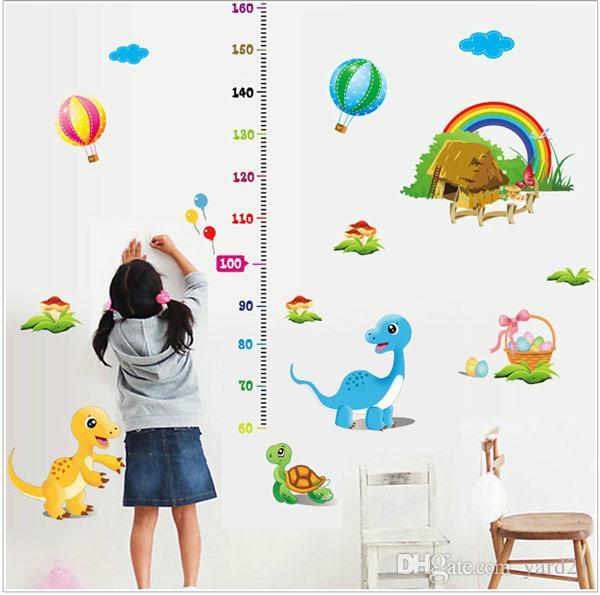 cute dinosaurs growth height chart vinyl sticker decal kids nursery