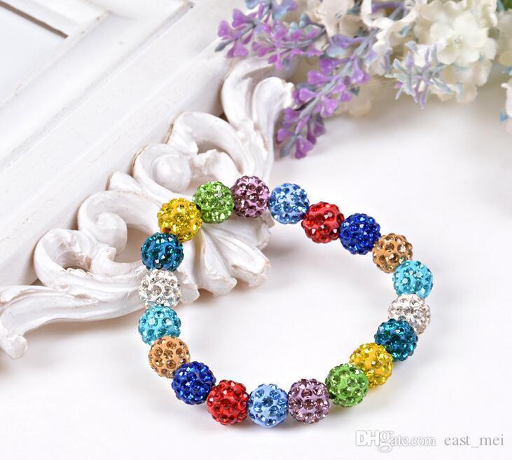 Buena Moda A ++ 20 Pulsera de bola de diamante de cristal Beads DIY Joyería hecha a mano FB292 Orden de mezcla 20 Piezas Muchas Pulseras de encanto