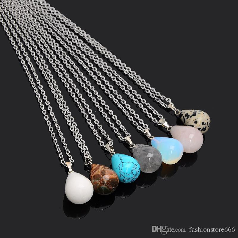 10 Style Naszyjniki Kamień Naturalny Wisiorek Z Stainless Steel Chain Bullet Hexagonal Prism Cross Heart Shapes Crystal Biżuteria dla kobiet Mężczyźni