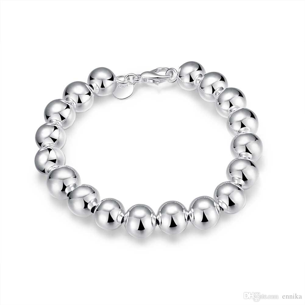 women's Jewelry 925 Silver Shine 8mm Beads Necklace Bracelet and Earrigns Set Fashion Jewelry S082