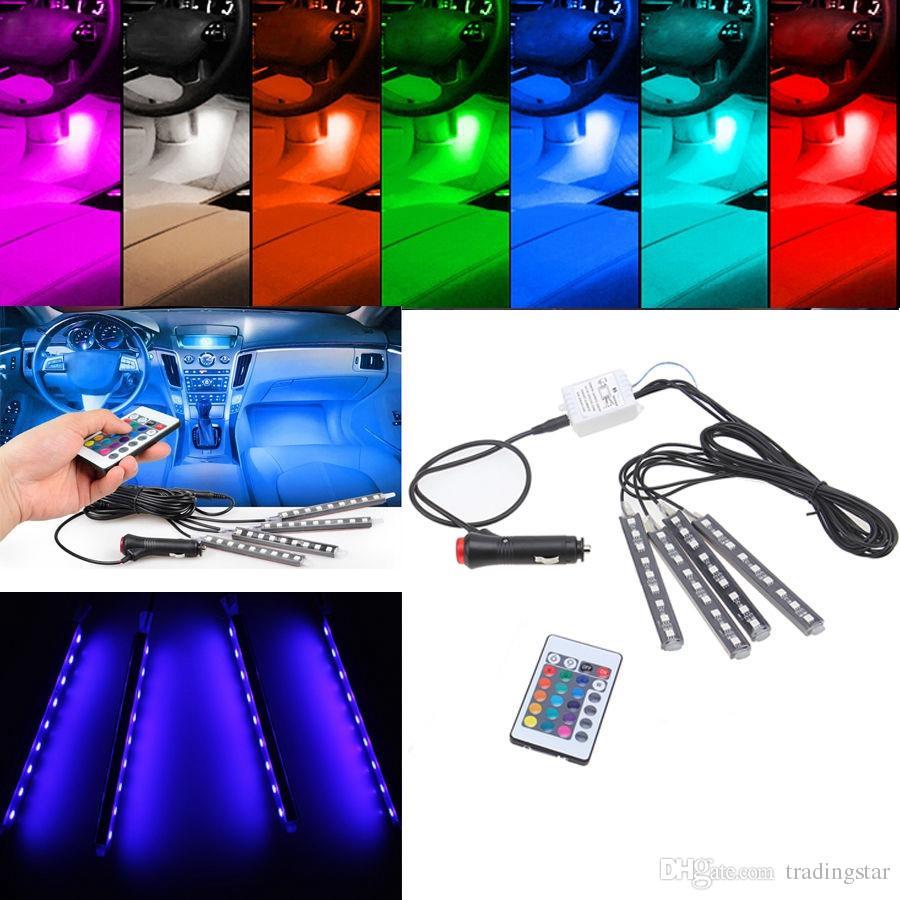2017 4 In1 Wireless Control Car Flwxible Floor Neon Lights Door ...