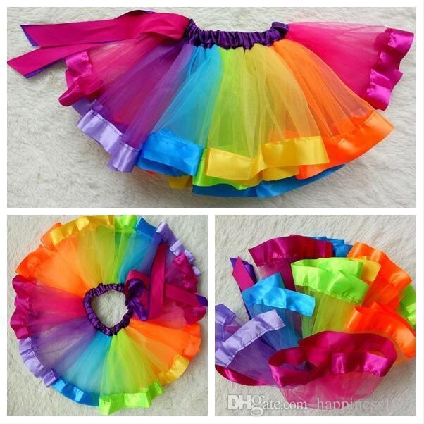 2017 Hot Kids Lovely Handmade Colorful Tutu Skirt Girls Rainbow Tulle Tutu Mini Dress Dance Bubble Skirt 1 9t