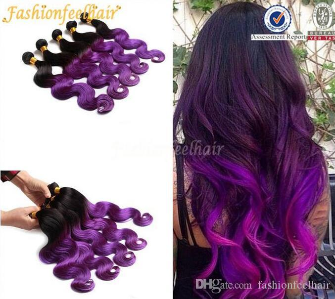 2 Tone Purple Hair Extension Ombre Purple Peruvian Humain Hair Black