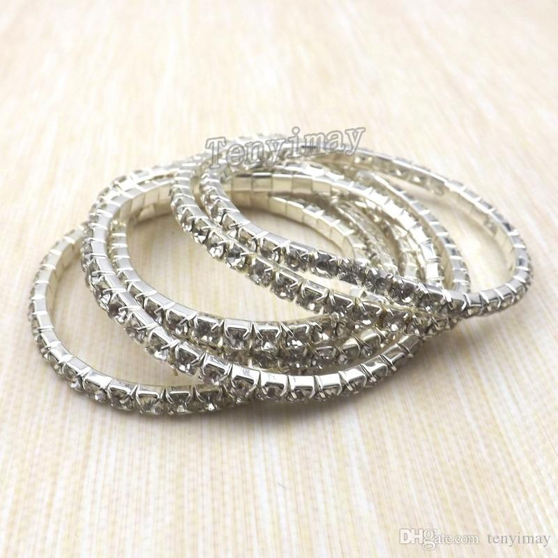 Mode transparenta fullt smycken Armband Singelrad Kristall Armband 100st / För Gilla Partihandel