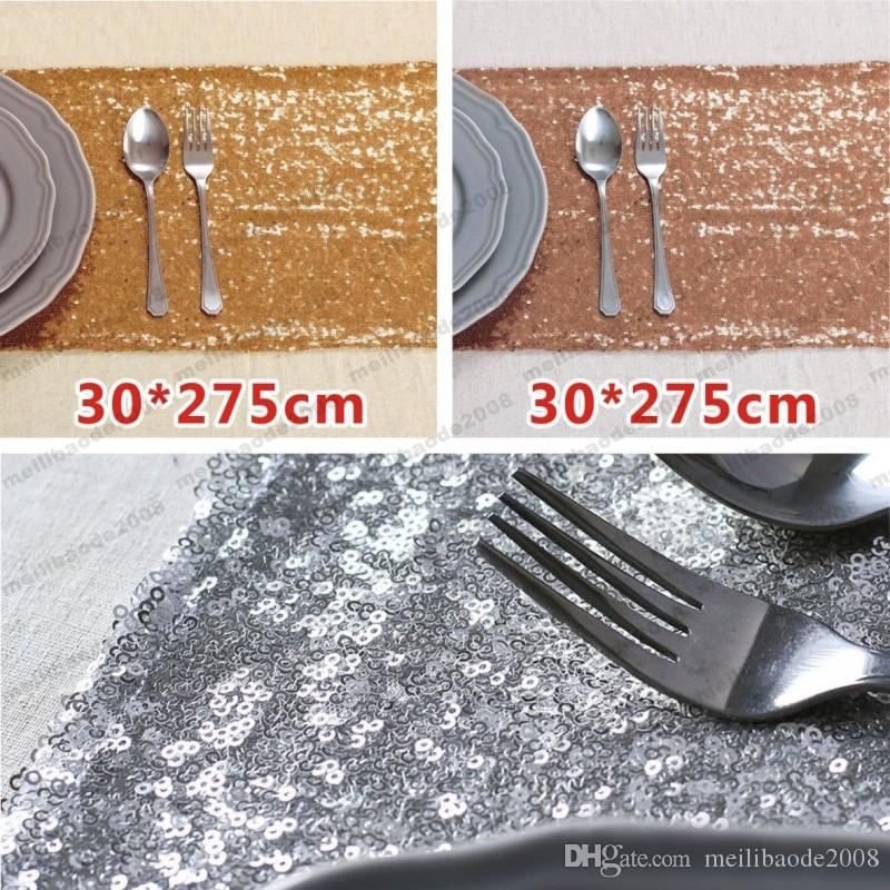 2017 NEW 30*275cm Fabric Table Runner Gold Silver Sequin Table Cloth Sparkly Bling for Wedding Party Decoration Products Supplies MYY