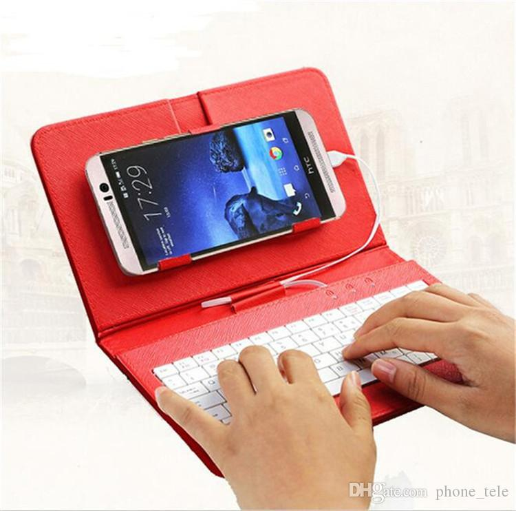 Universal Keyboard Case Flip PU Leather Protective Cases Portable Keyboards Cover with Stand Holder Case for Samsung s6 s7 edge s8 plus
