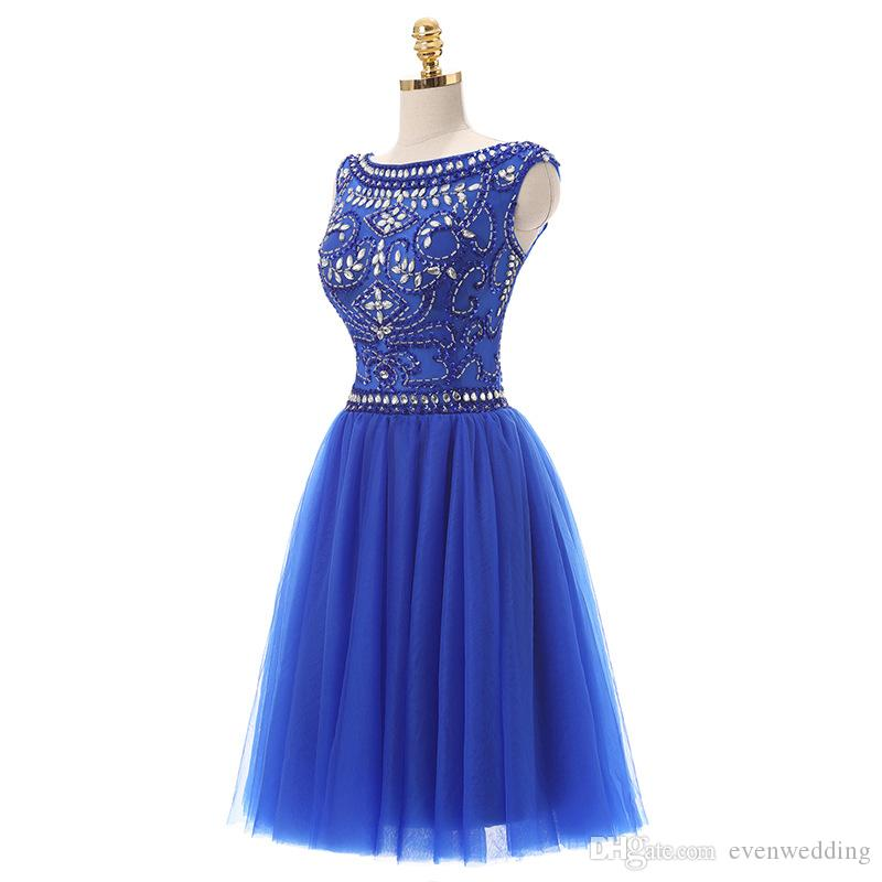 국자 목 Tulle 홈 커밍 드레스 2018 페르시 단정 댄스 드레스 로얄 블루 파티 드레스 무릎 길이