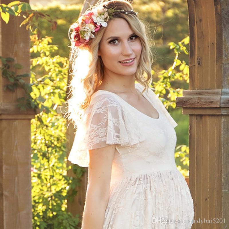 Материнство платье для фото Maternty фотографии реквизит с коротким рукавом сексуальные кружева беременных платья 2017 женщин элегантный длинное платье плюс размер S-4XL