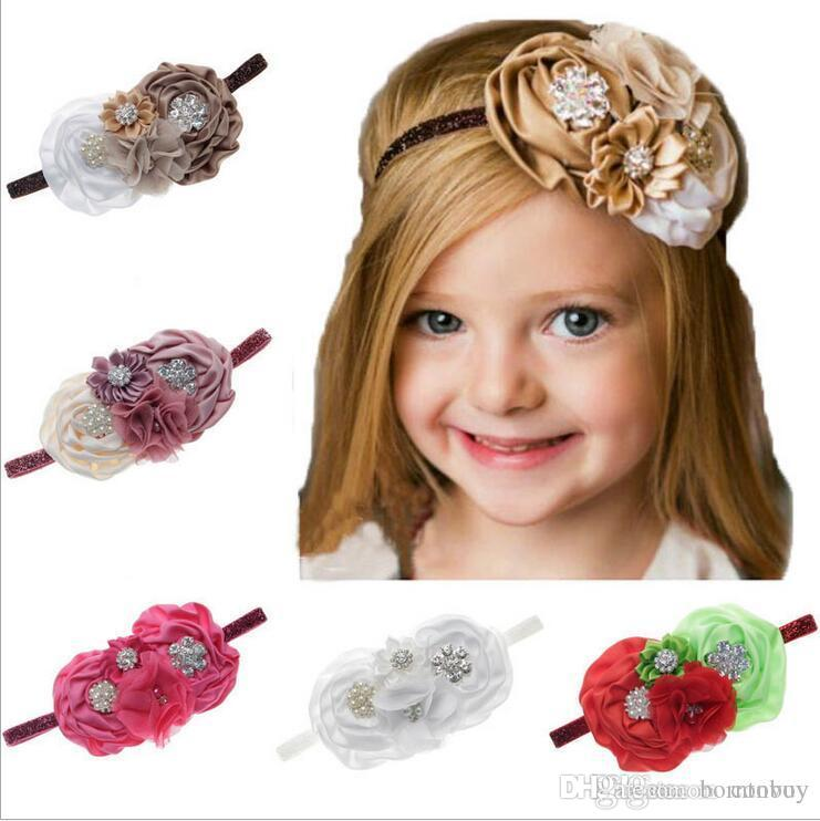f4fc19abfc5 Baby Headbands Big Flowers Kids Rhinestone Pearl Sparkle Headband ...