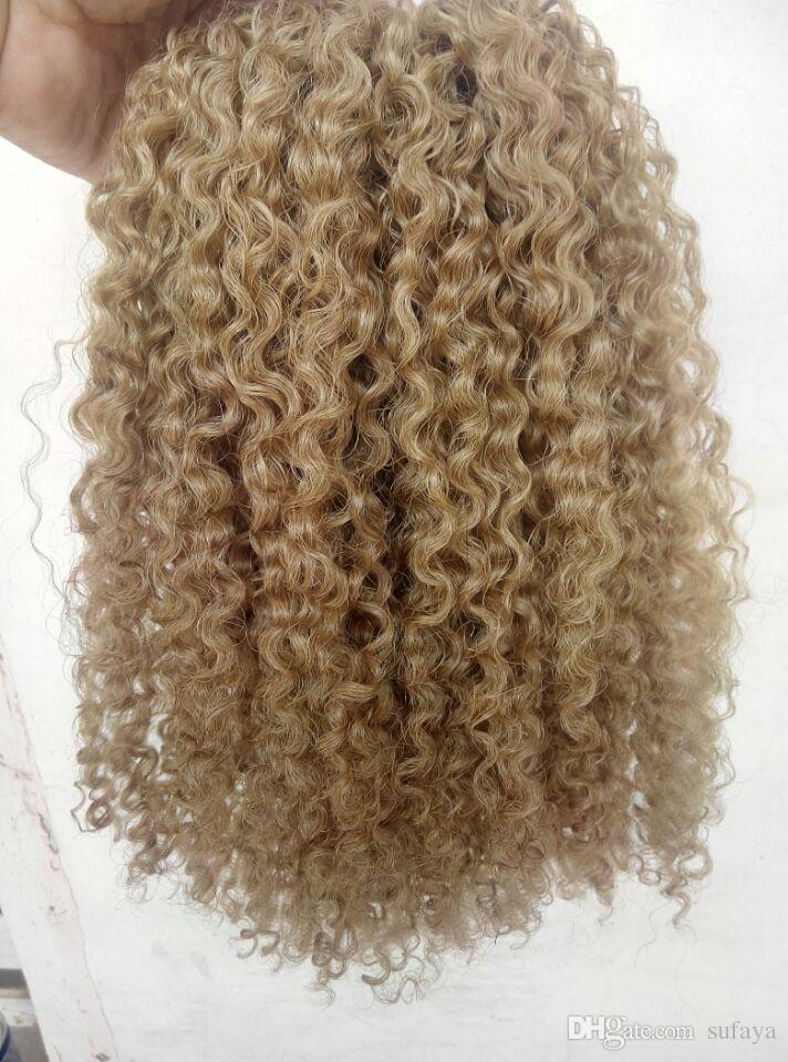 brésilienne vierge humaine remy clip ins extensions de cheveux boucles bouclés cheveux trame medum brun foncé blond couleur