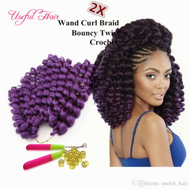 brazilian cheap 8inch wand curl bouncy twist crochet hair extensions Janet Collection synthetic braiding hair ombre crochet hair bundles