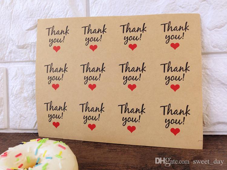 Craft coração de papel decoração Obrigado etiqueta decorativo vedação favores caixa de saco pacote paster padaria adesivos etiqueta do presente
