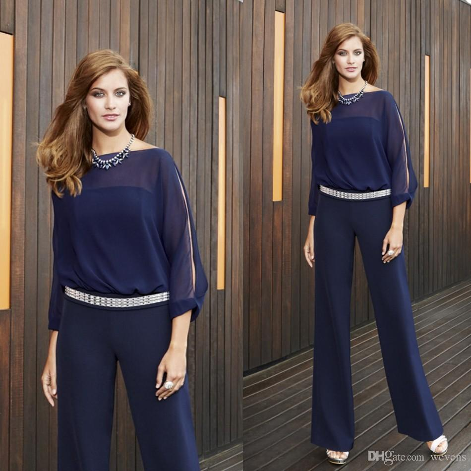 Dark Navy Mother Of The Bride Pant Suits For Weddings Bateau Neck