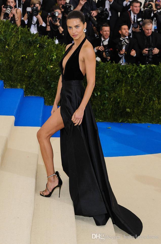 Halfter tiefer Ausschnitt sexy Berühmtheit roten Teppich Kleider öffnen sich zurück High Side Split formale Partei lange schwarze Ballkleider