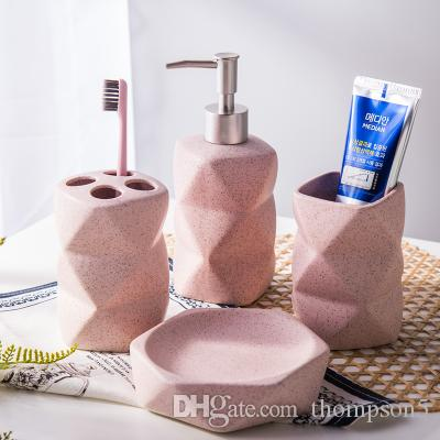 2018 Sandpoint Ceramics Bathroom Supplies Four Pcs Set Wash Kit Unusually  Shaped Cup + Lotion Bottle+ Brush Holder+Soap Dish Pink / Blue / Green From  ...