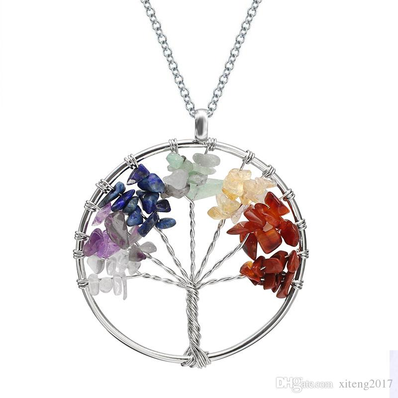 Árvore de vida de quartzo pingente colar de arco-íris 7 chakra multicolor natural de pedra sabedoria árvore colar de cadeia de couro para meninas