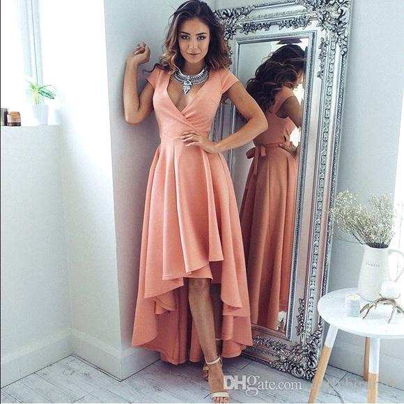 2d714c0ae3f 2018 Sexy Deep V-neck High Low Long Evening Dresses Modern Short Sleeves  Coral Dresses Evening Party Wear Summer Cocktail Dress BM0197