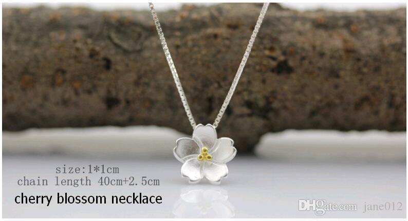 Romantischer ursprünglicher Entwurf 925 reines silbernes Kirschblüten-Schönheits-Blumen-Halsketten-Armband-Ohrring-Ring-Sterlingsilber-Schmucksachen
