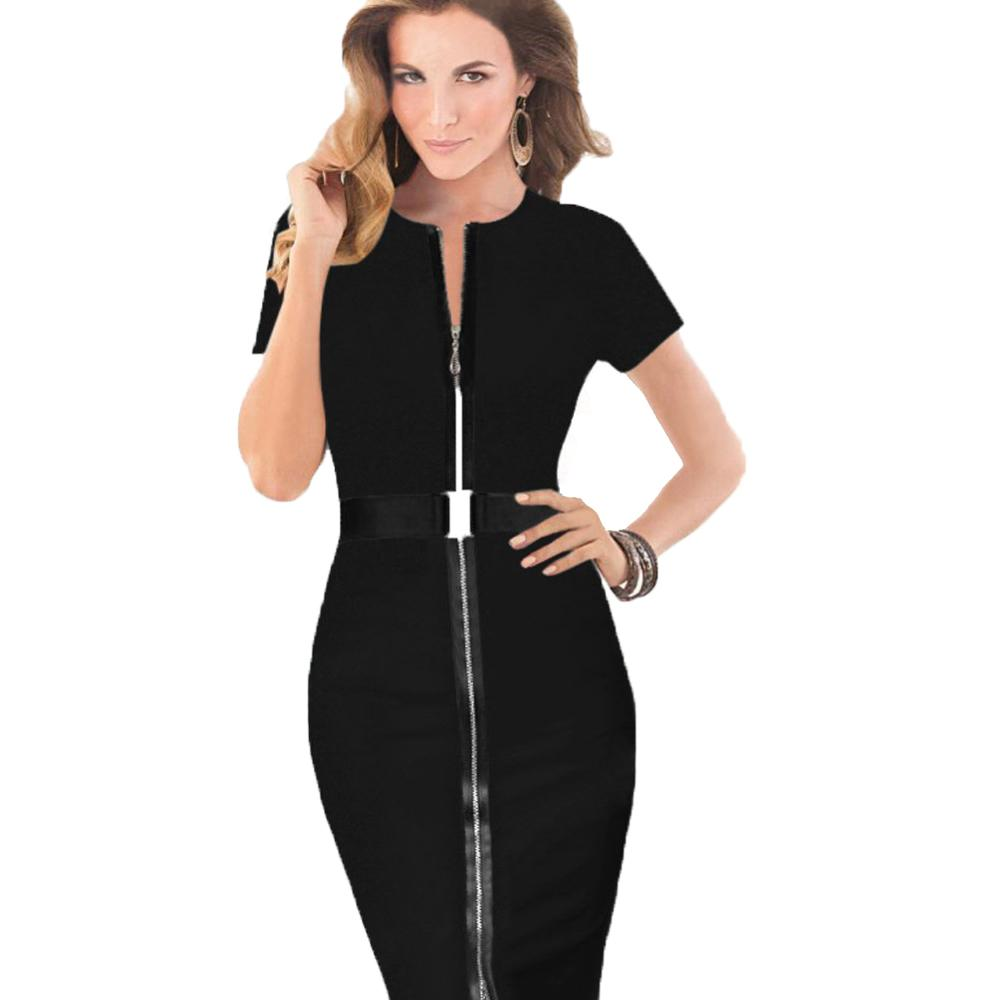With Belt Women Office Formal Dress Elegant Sheath Pencil Business ... f87c6127506d
