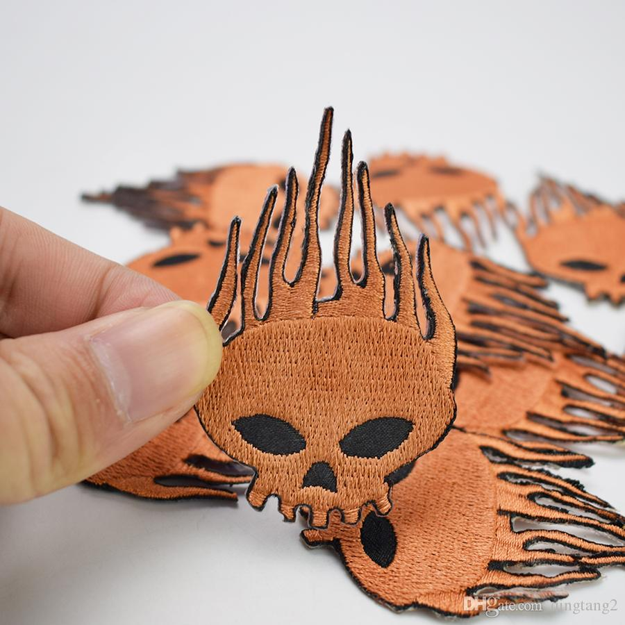 brown skull embroidery patches for clothing iron patch for clothes applique sewing accessories stickers badge on cloth iron on patches