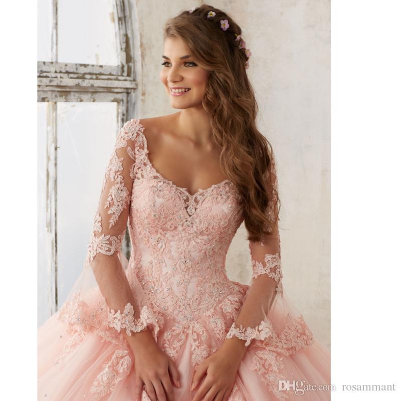 Прозрачное розовое бальное платье с длинным рукавом Платья Quinceanera V-образным вырезом с кружевными аппликациями зашнуровать длинные выпускные платья Sweet 16