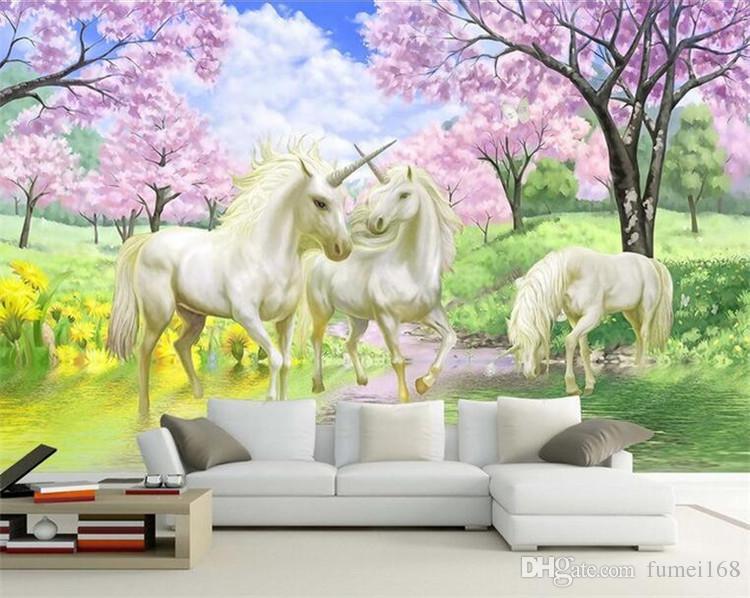 Personalizado 3d papel de parede mural unicorn sonho cherry blossom tv fundo parede pictures para crianças quarto quarto sala de estar papel de parede