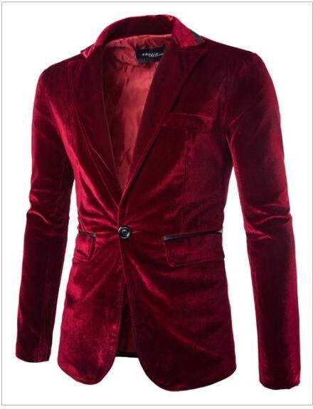 Wholesale Mens blazer slim fit suit jacket black navy blue velvet spring autumn outwear coat Suits For Men