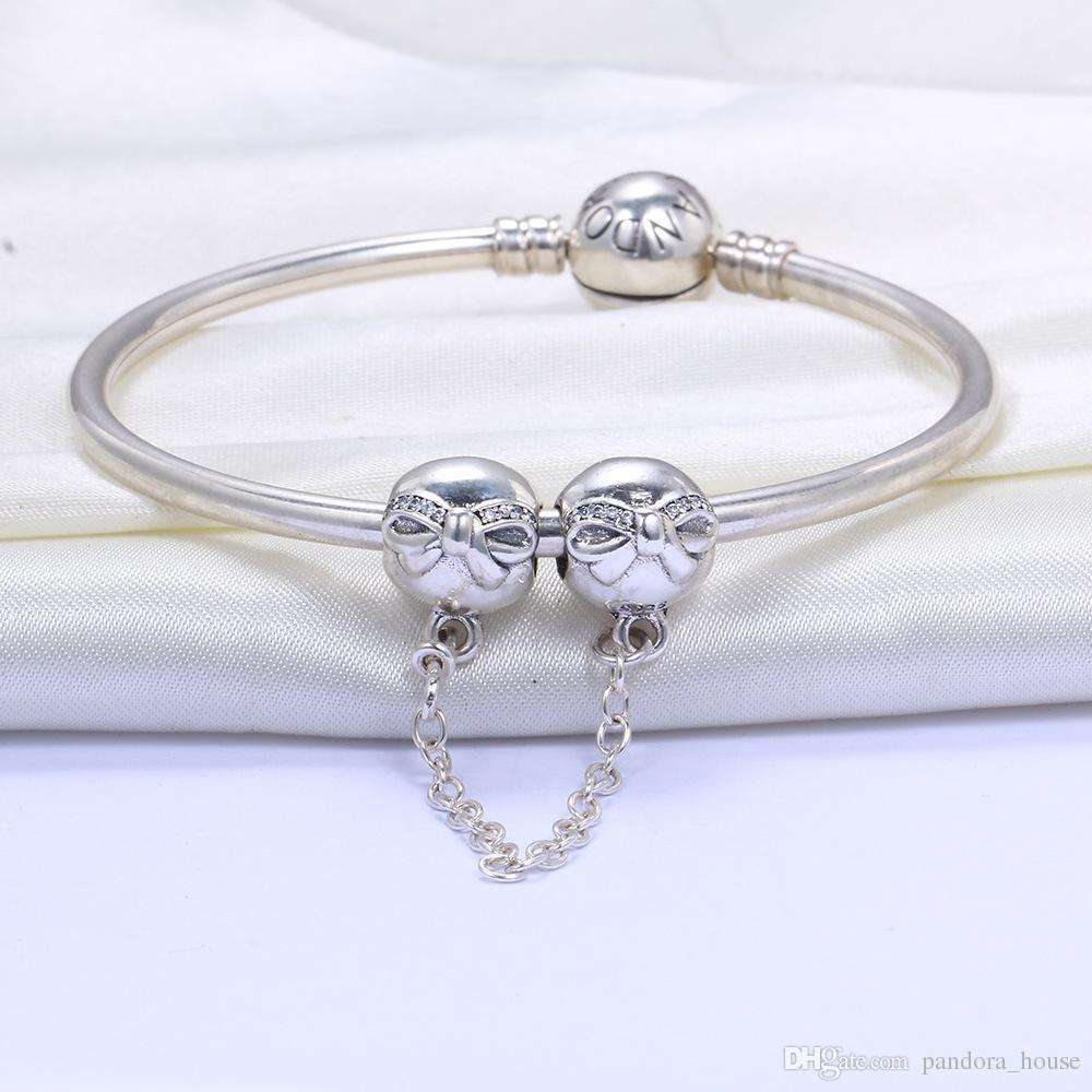 Vente en gros 925 Charm en argent sterling coeurs chaîne de sécurité Charms flottant européenne perles d'argent pour Pandora Serpent Bracelet chaîne de bricolage bijoux
