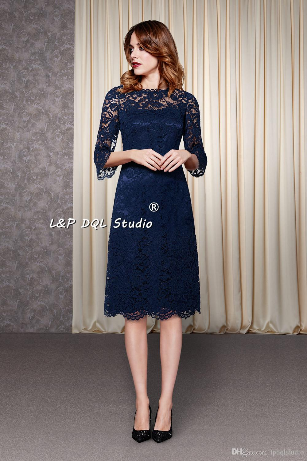 Navy blue lace bridesmaid dresses three quarter sleeves zipper navy blue lace bridesmaid dresses three quarter sleeves zipper back knee length wedding party dresses custom made plus size garden style claret bridesmaid ombrellifo Images