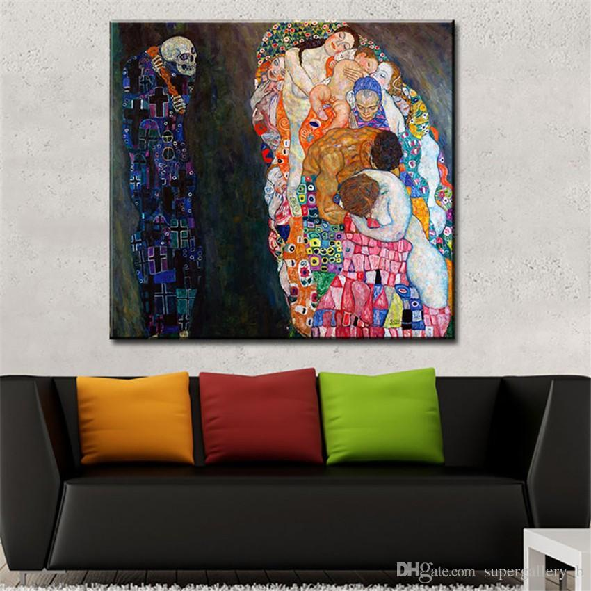 Gustav Klimt Death and Life,Hand-painted Portrait Art oil painting,Home Wall Decor On High Quality Canvas size can be customized