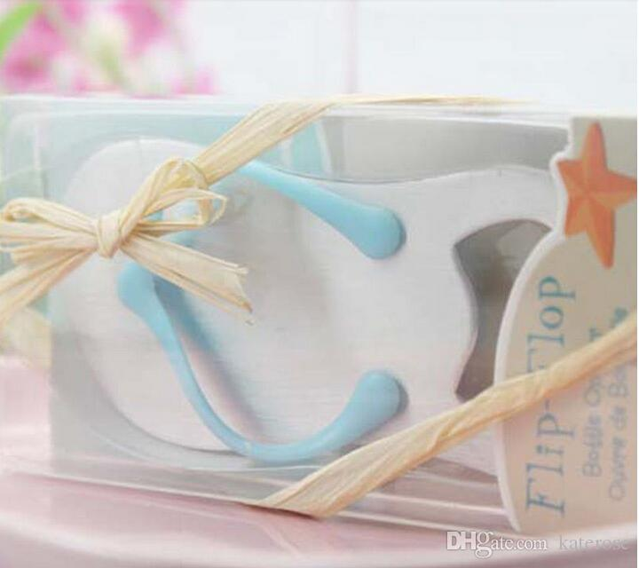 Blue Flip-Flop Wine Bottle Opener in Beach-Themed Box Wedding Favors Party Giveaway Gift For Guest