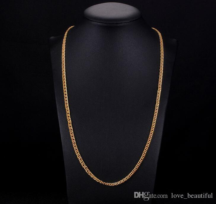 Mark 18K gold plating Sideways Necklace Fashion man woman 3.5MM Gold bracelet necklace wedding Jewelry Set