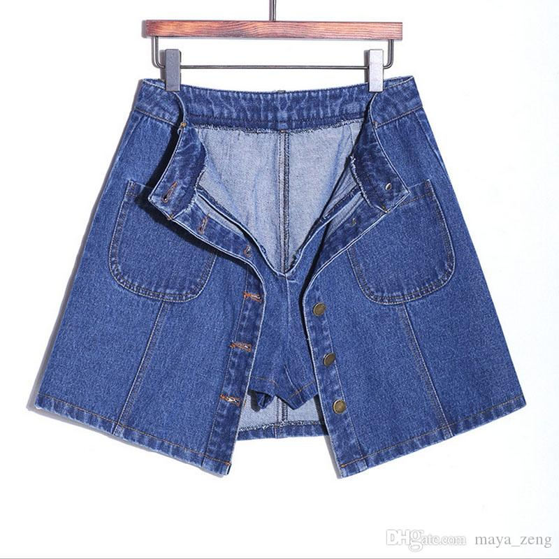 2017 SUMMER STYLE WOMEN MINI SKIRTS HIGH WAIST SEXY WOMENS POCKETS BLUE SINGLE BREASTED A-LINE SKIRT HIGH QUALITY FACTORY WHOLESALE