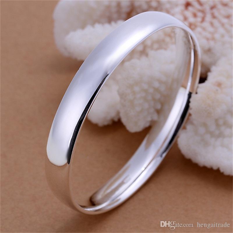 Бесплатная доставка Оптовая стерлингового серебра 925 покрытием ювелирные изделия гладкие плоские круглые браслеты LKNSPCB169