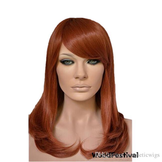 WoodFestival perruque de longueur moyenne auburn perruques de cheveux synthétiques résistant à la chaleur pour les femmes court perruque frisée avec une frange obliques fibre